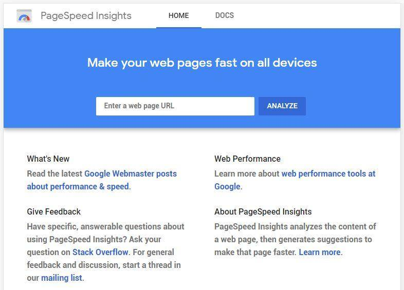 Pagespeed Insignhts Home
